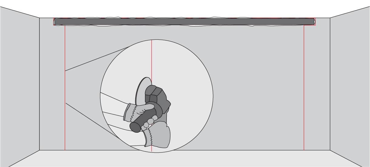 Marcar, con el esmeril angular y su hoja para concreto, las líneas que definen los pies derechos