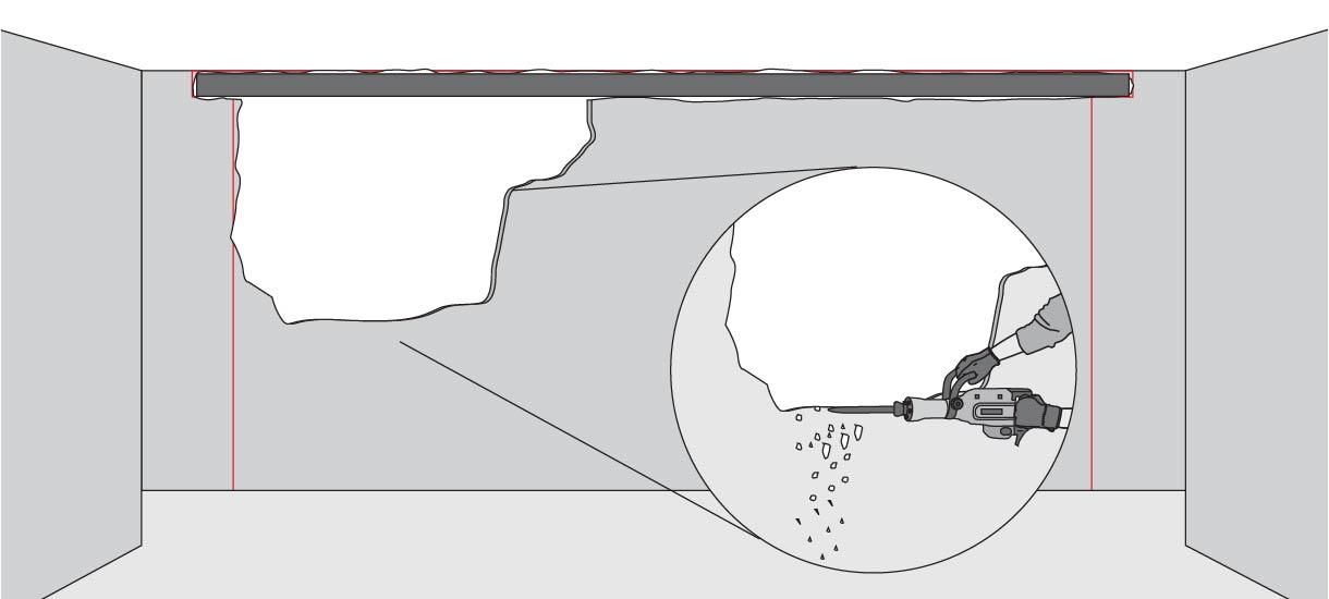 demoler de a poco el muro para evitar que trozos grandes se desprendan