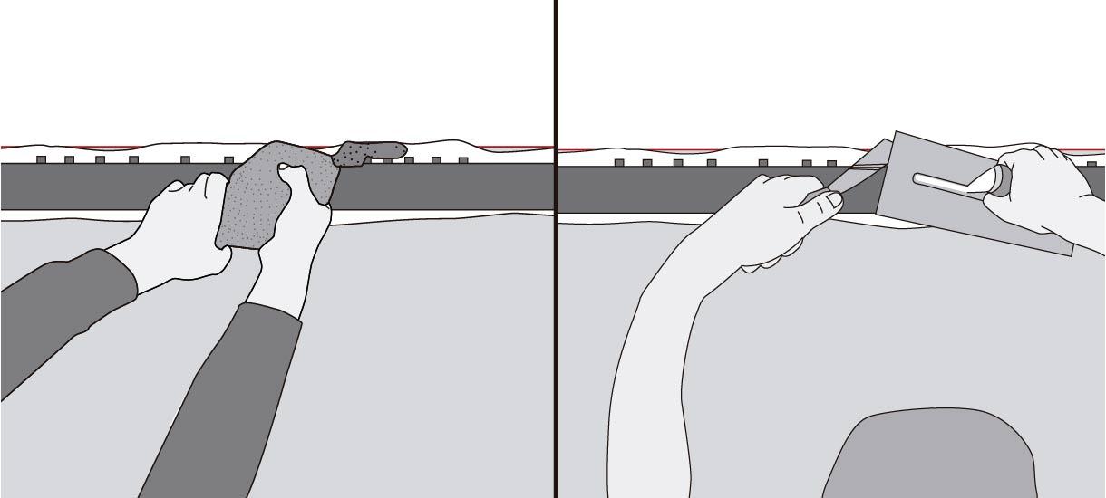 introducir mortero de pega en la parte superior del dintel con una llana y una plana