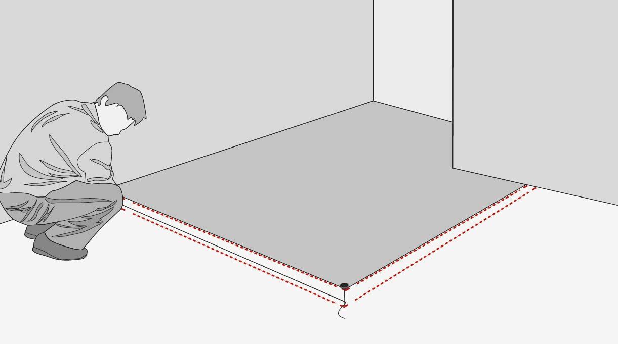 marca con tiza en el suelo el perímetro de los perfiles U