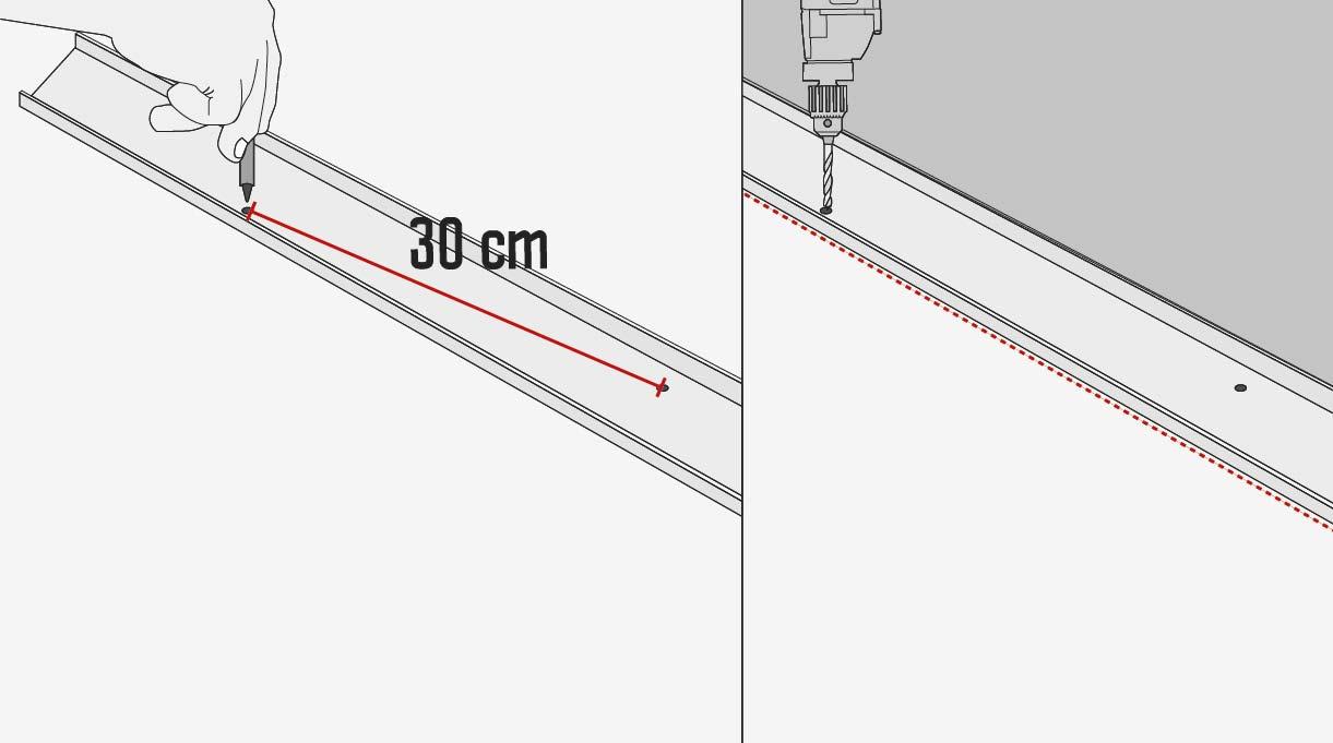 perforar los perfile en zig zag cada 30 cm