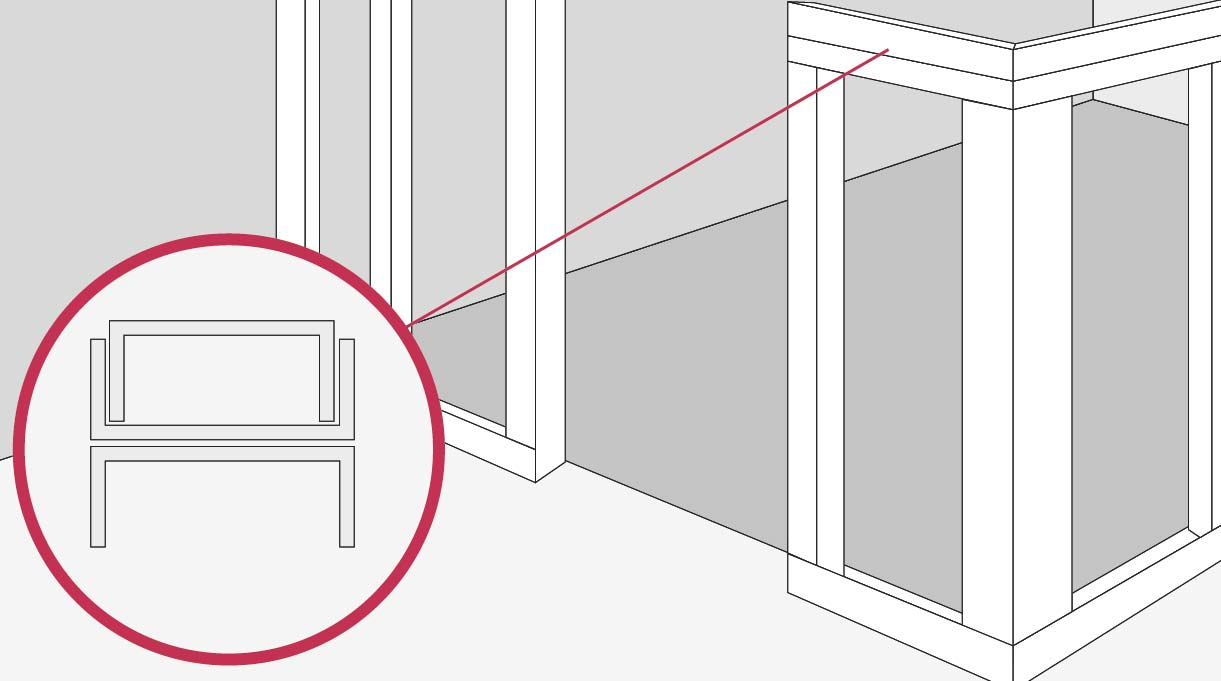 La terminación superior, donde irá apoyado el mesón, se hace con un perfil U hacia abajo, sobre él un perfil C hacia arriba, y se cierra con otro perfil U
