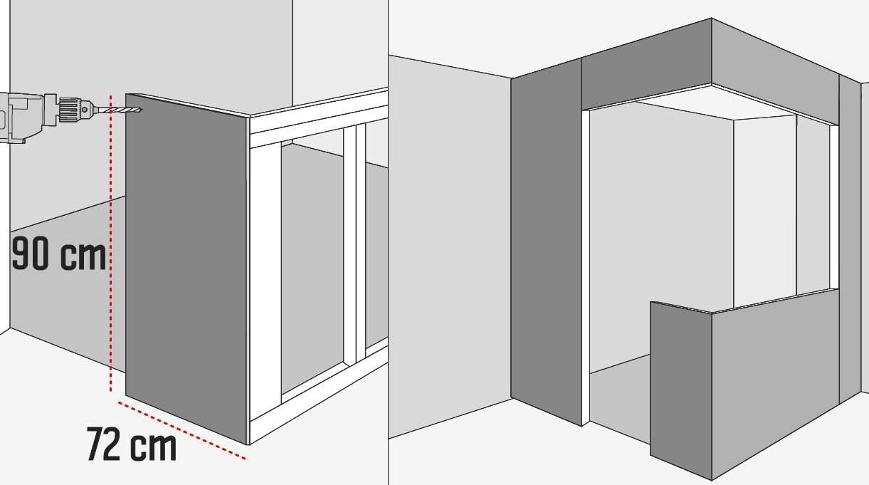 revestir la estructura por el interior con yeso cartón resistente a la humedad