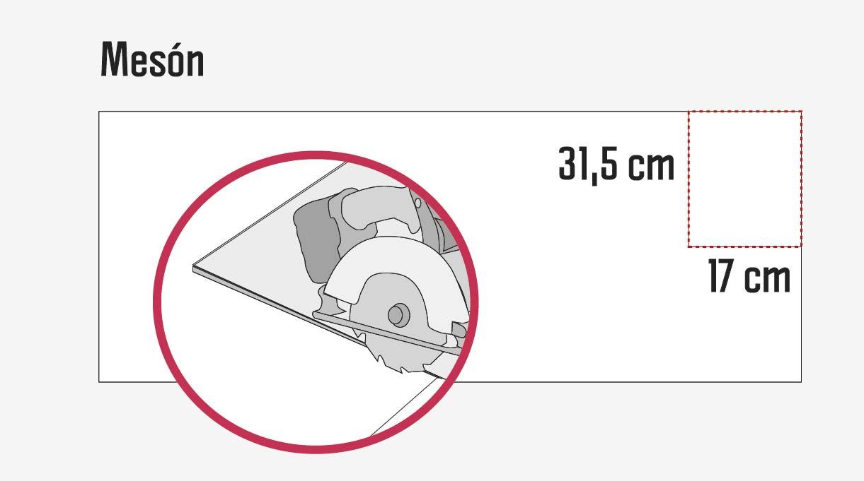 Haz un corte de 31,5 x 17,5 en una esquina para que el mesón encaje en la mocheta