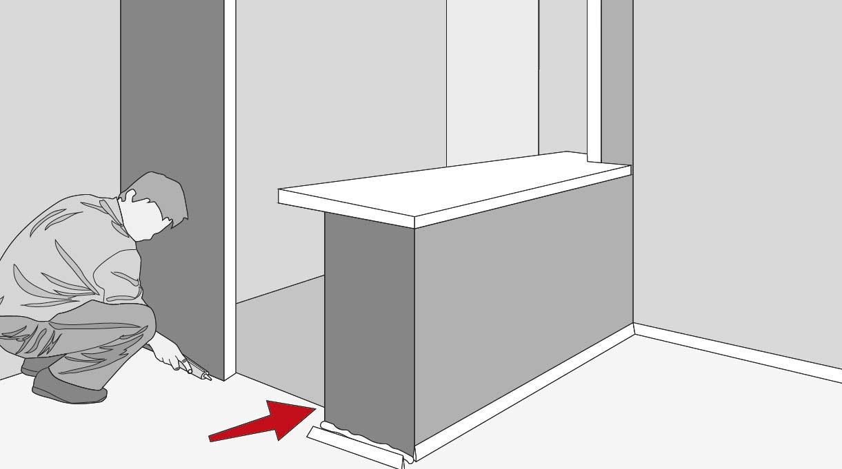 instala los guardapolvos y cornisas de la cocina abierta