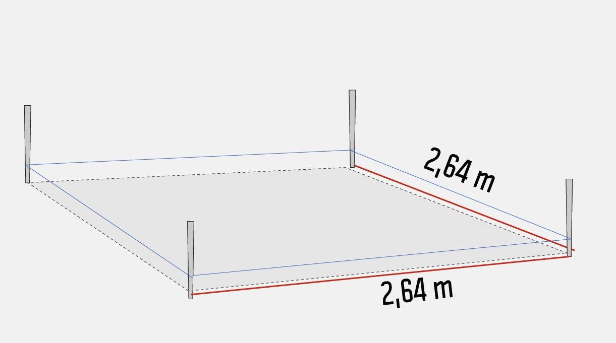 trazar el área de 2,64 x 2.64 metros que cubrirá la pérgola.