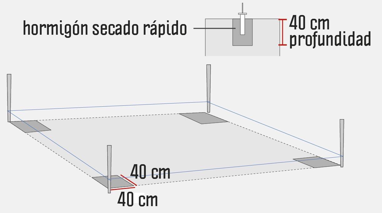 Excavar la ubicación de los 4 cimientos, uno en cada esquina del área trazada. Estas excavaciones tienen una medida de 40×40 cm de base y 40 cm de profundidad