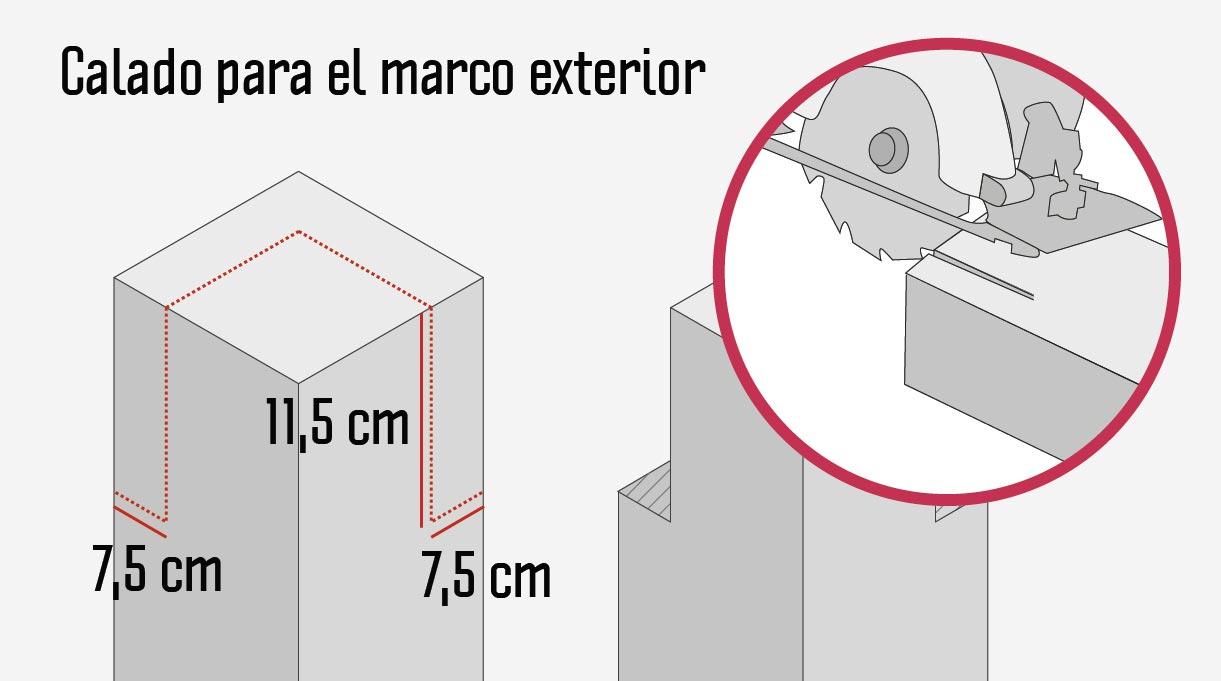 El marco exterior tendrá una terminación en 45º y el calado para sostenerlo debe medir 7,5×7,5 cm de base y 11,5 cm de altura.