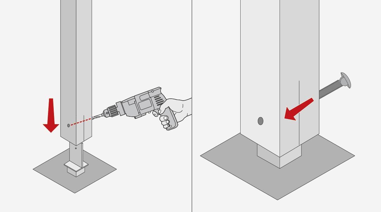 """Para montar los pilares hay que hacer en la parte inferior del pilar un agujero, que se marca según la referencia de la perforación que tiene el soporte metálico. Se encaja el soporte metálico en la ranura inferior del pilar y se fija con pernos coche de 5½"""""""