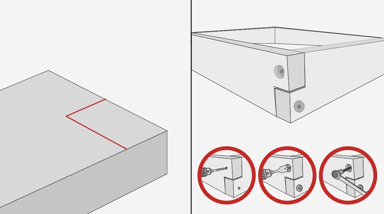 En los 2 extremos de las tablas del marco interior se hace un corte a media madera que mide 7 x 4 cm (+/- 2mm rectificar viga). Este rebaje se corta con la sierra caladora, y hay que pasar una escofina para emparejar la terminación. Fijar las 4 esquinas del marco interior con tornillos tirafondo, para eso primero se hace una guía con broca avellanadora, y luego con broca paleta de 25 mm se hace un rebaje para que la cabeza de tornillo quede dentro de la madera.