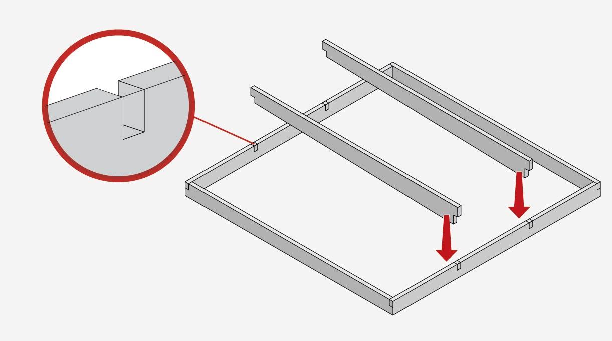 """Los 3 travesaños miden 1,75 m y se cortan de las vigas de 2×6"""". Para encajar estas 3 tablas interiores del marco también hay que hacer cortes a media madera. Van repartidos a 80 cm de distancia"""