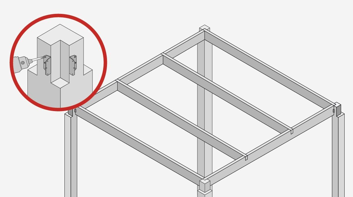 Atornillar 2 ángulos de refuerzo en cada extremo superior de los pilares. Ellos serán los encargados de fijar el marco interior que va encajado en el rebaje a media madera