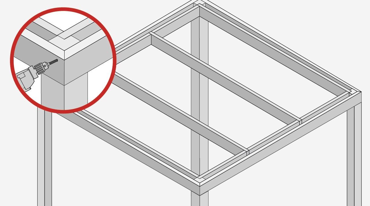fijar el marco exterior colocando 2 fijaciones de tirafondo en cada encuentro
