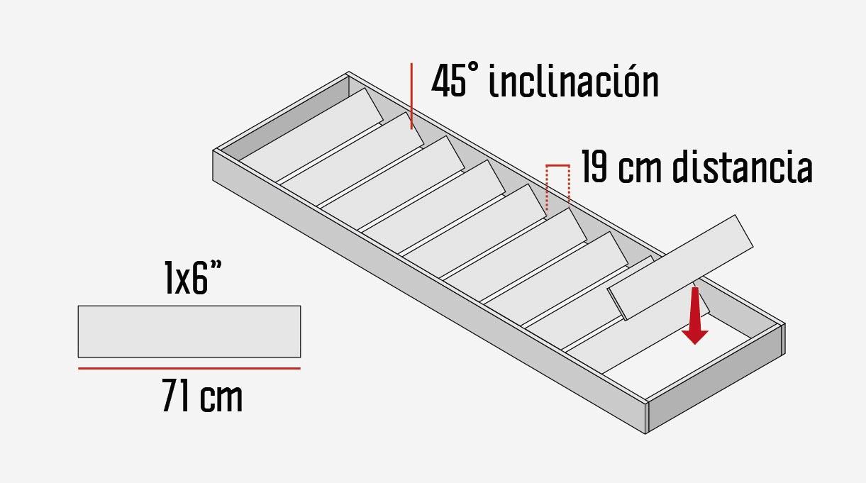 """En el interior se fijan 11 cortes de pino cepillado de 1×6"""" de 71 cm de largo, que van separado 19 cm de distancia a eje. Al fijarlos se ponen inclinados en 45º."""