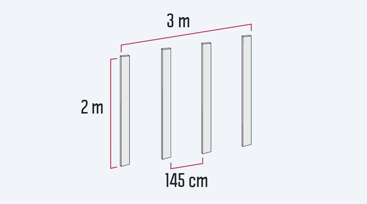 Se usarán 4 pilares de 2 metros de largo. Pone dos de esos pilares en los extremos, a 3 metros de distancia, ya que ese será el ancho del deck, y luego coloca dos pilares más dejando entre ellos el espacio para la parrilla. En este caso 145 cm.