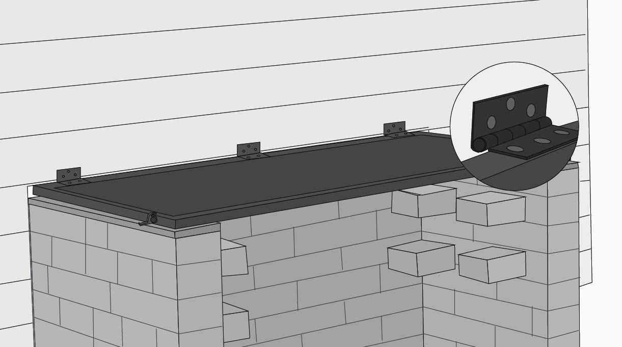 Une la estructura al deck poniendo dos bisagras en los extremos y una al centro. Pone un picaporte de ventana a cada lado para mantener la tapa en posición vertical.