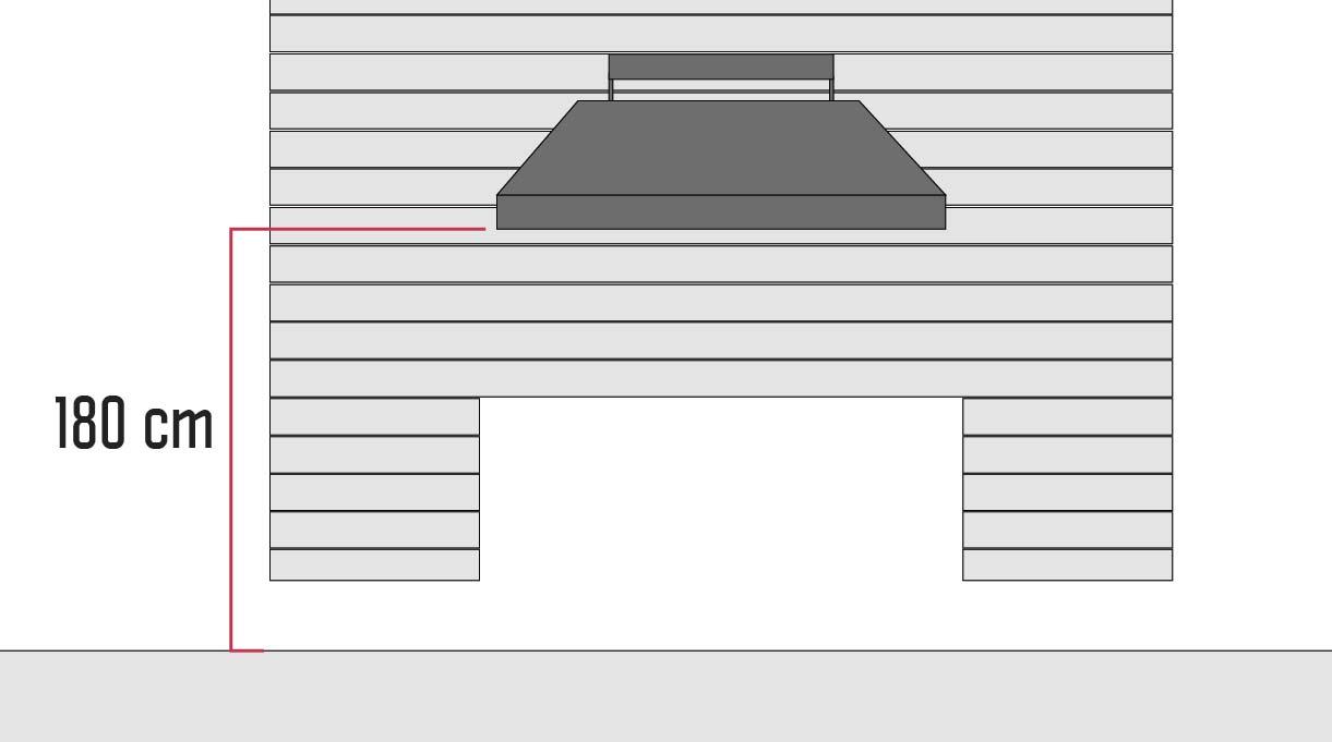 La altura de la campana del quincho es a 180 cm desde el suelo, aunque puedes tomar como referencia de altura del borde de la cubierta de protección plegada al muro e instalarla a 90 o 95 cm desde ahí.