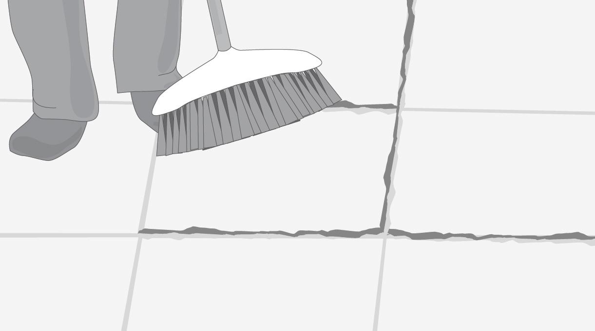 Limpia los restos de fragüe que removiste con una escoba