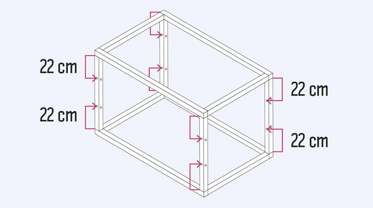 Cómo hacer un invernadero casero - Medidas de los agujeros para poner la malla