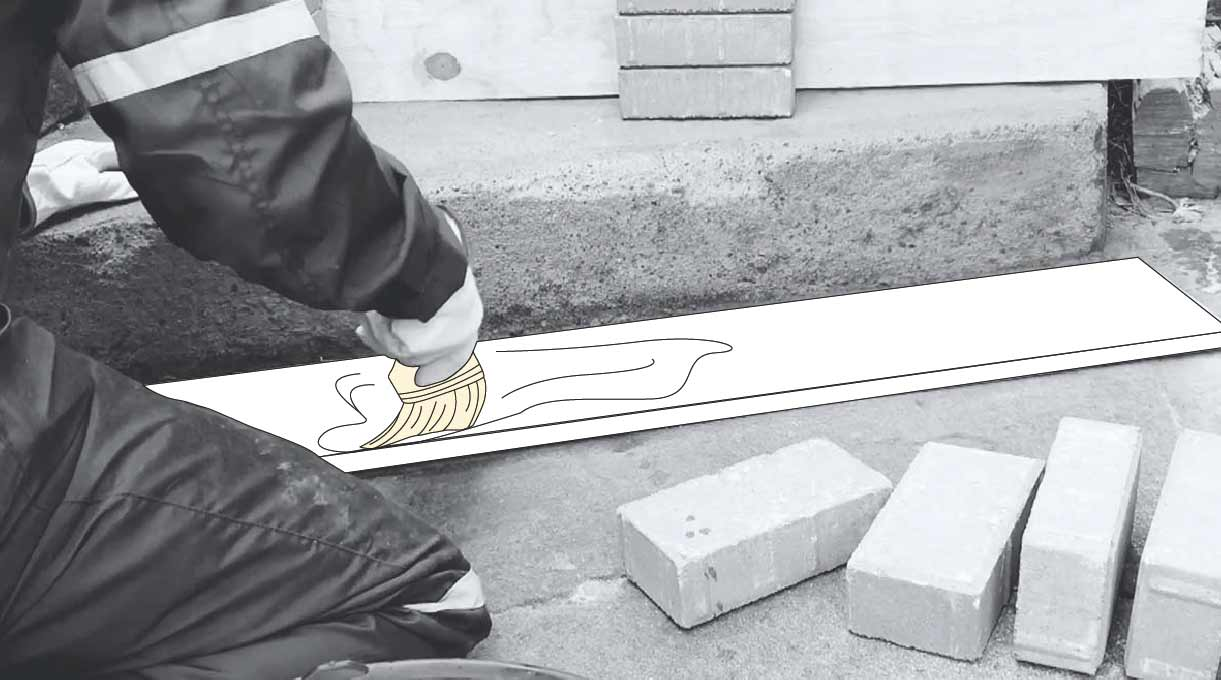 reparar peldaño escalera de cemento - aplicar la mezcla desmoldante