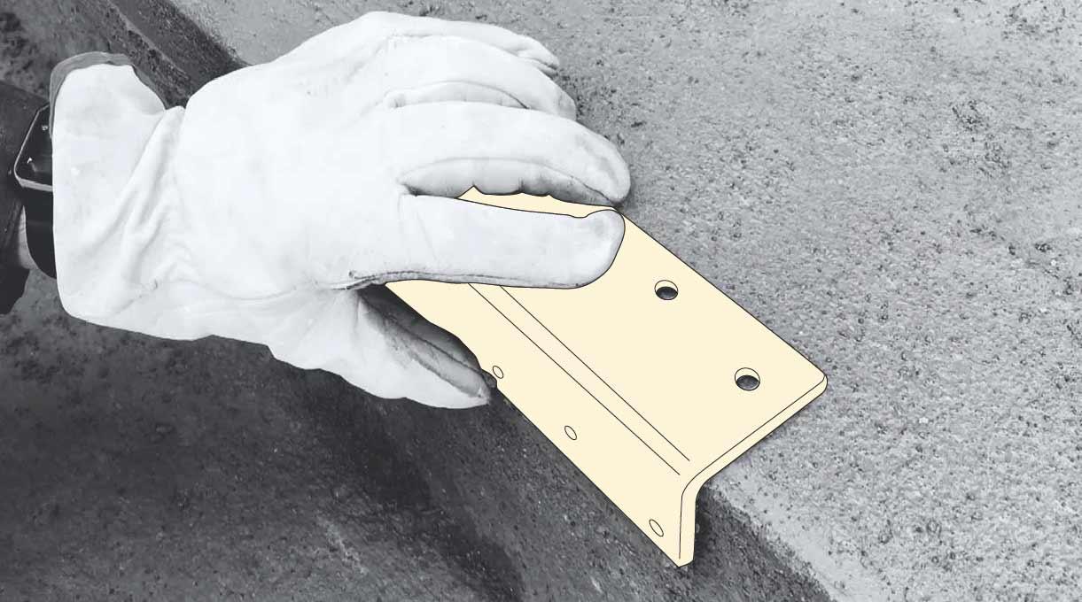 reparar peldaño escalera de cemento - comprobar el ángulo recto del peldaño