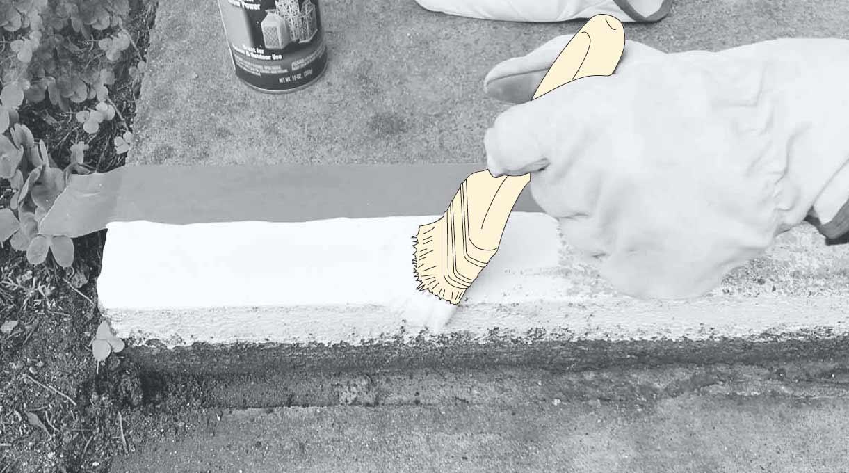 reparar peldaño escalera de cemento - aplicar brillo nocturno (opcional)