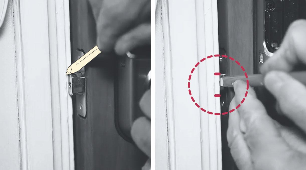 como instalar una cerradura digital - perforar el marco de la puerta