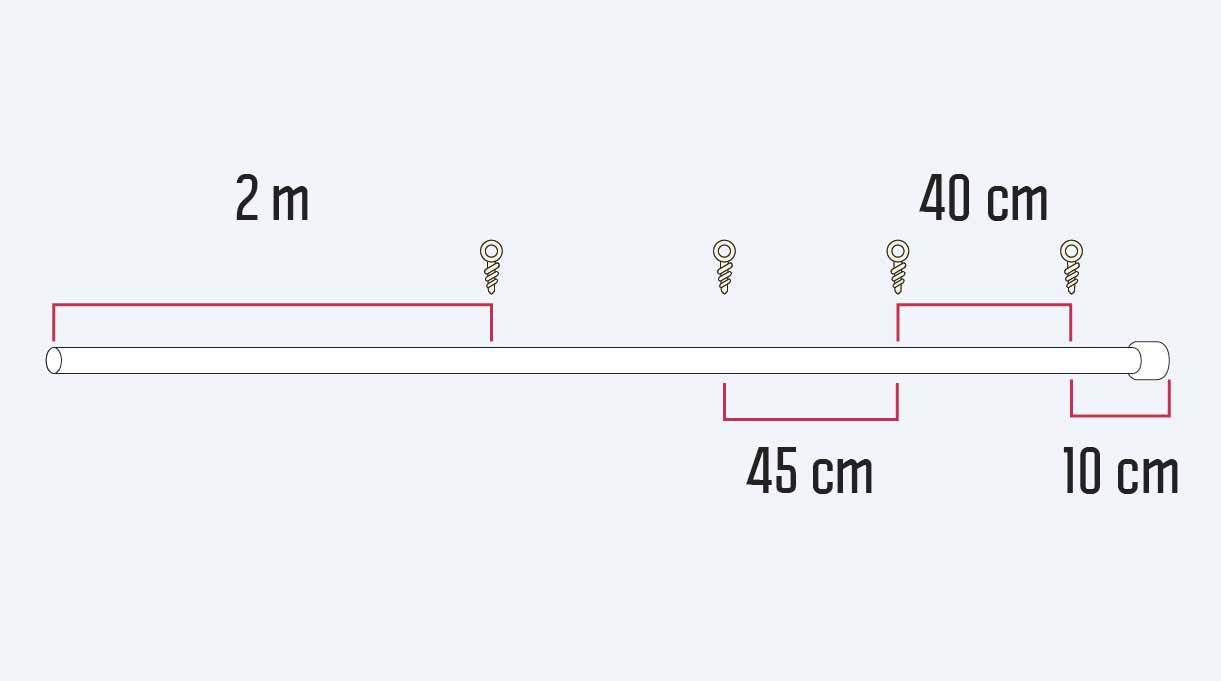 cómo hacer un mástil de bandera - distancia de los cáncamos