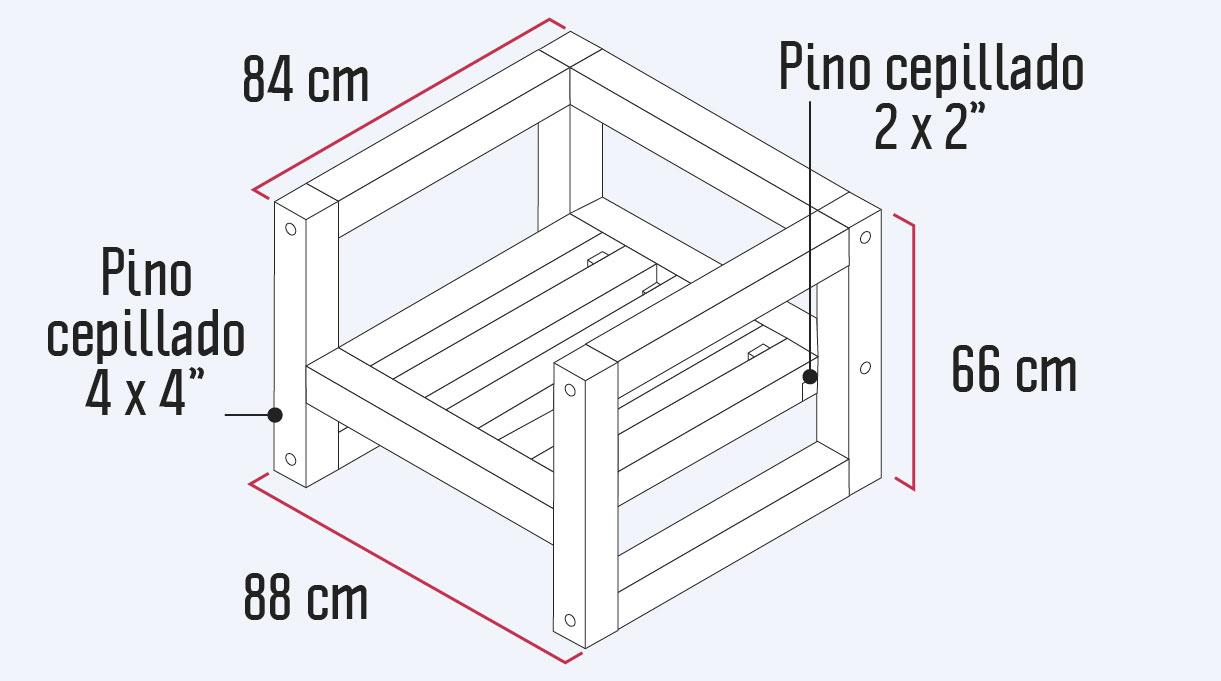 medidas del sillón de madera para terraza