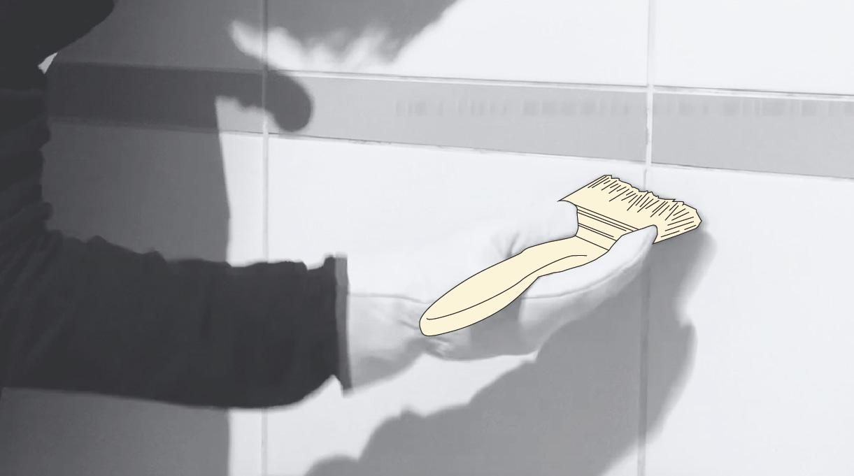 limpiar los restos de fragüe con una brocha