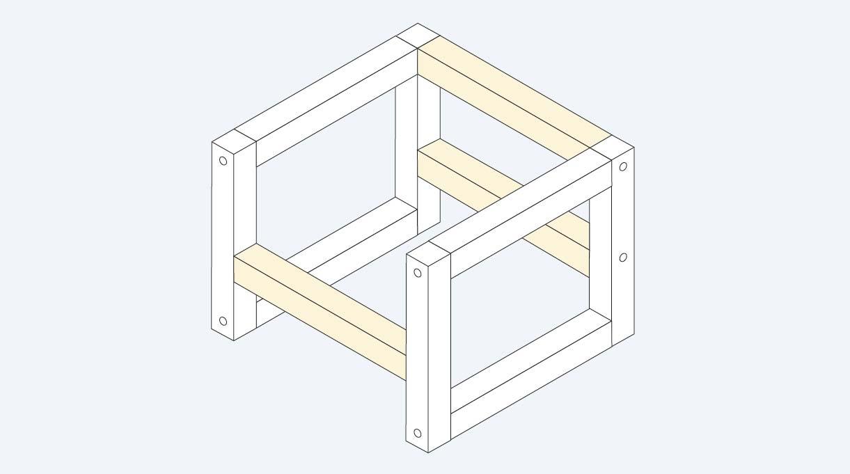 Una vez que tenemos los 2 brazos armados, los unimos con las 3 piezas de 70 cm, que son los travesaños de la silla
