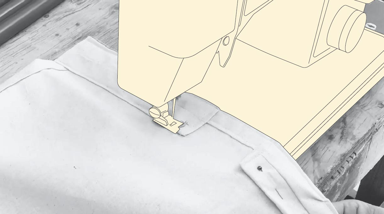 coser los bolsillos del toldo