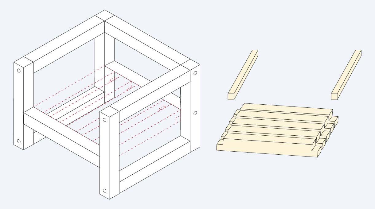 Cómo hacer los calados del asientodel sillón de madera para terraza
