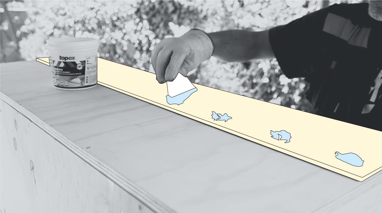 Pega el piso vinílico con adhesivo sin solvente en la cubierta y su borde