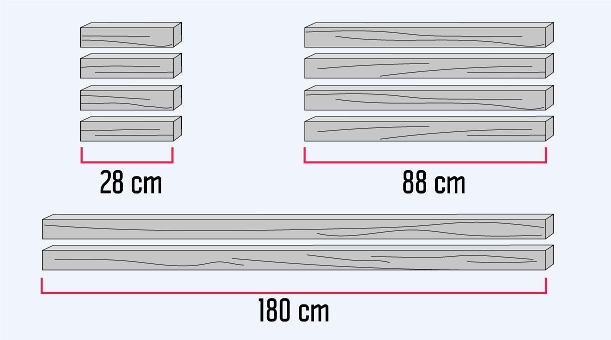 medidas para las piezas con que armaremos la estructura de la mesa para cama