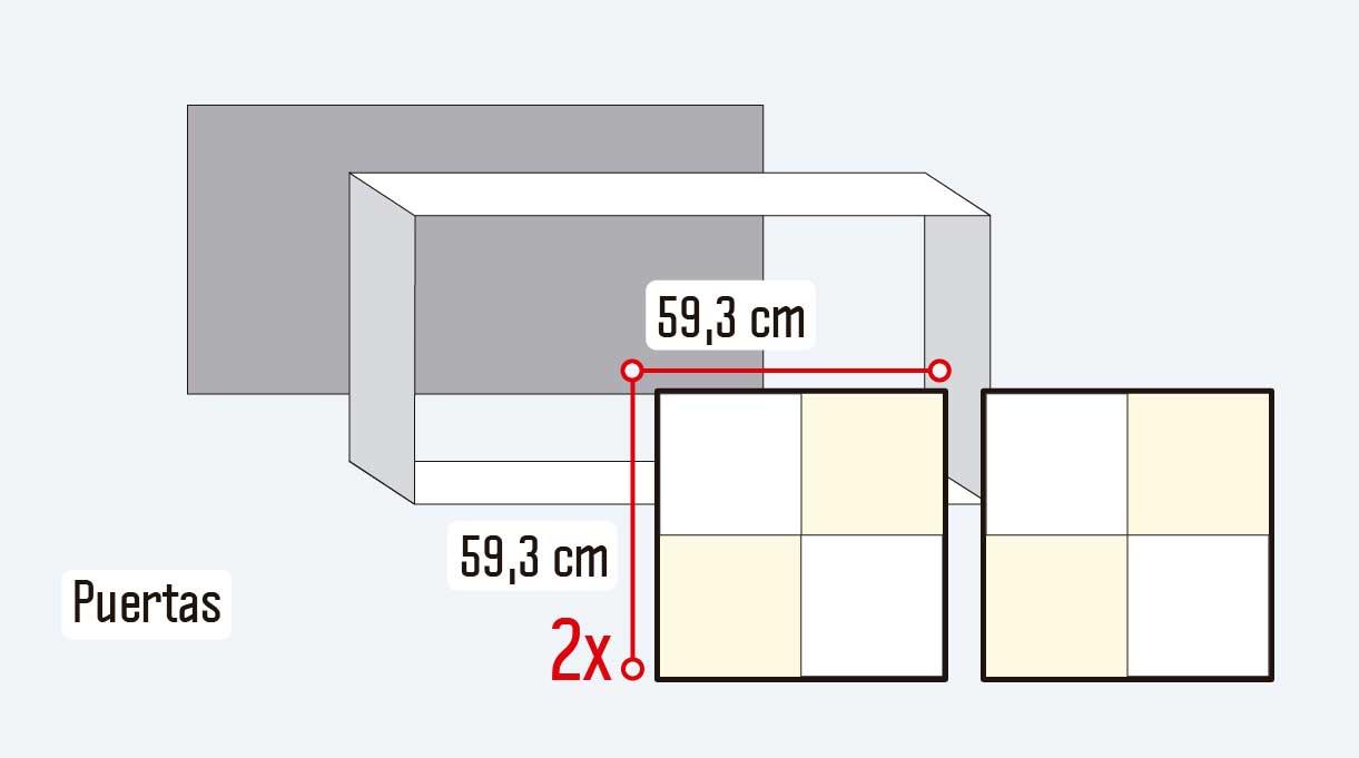 Para comenzar a construir el mueble para guardar zapatos se deben cortar las planchas de terciado estructural de 18 mm con las medidas de las dos puertas.