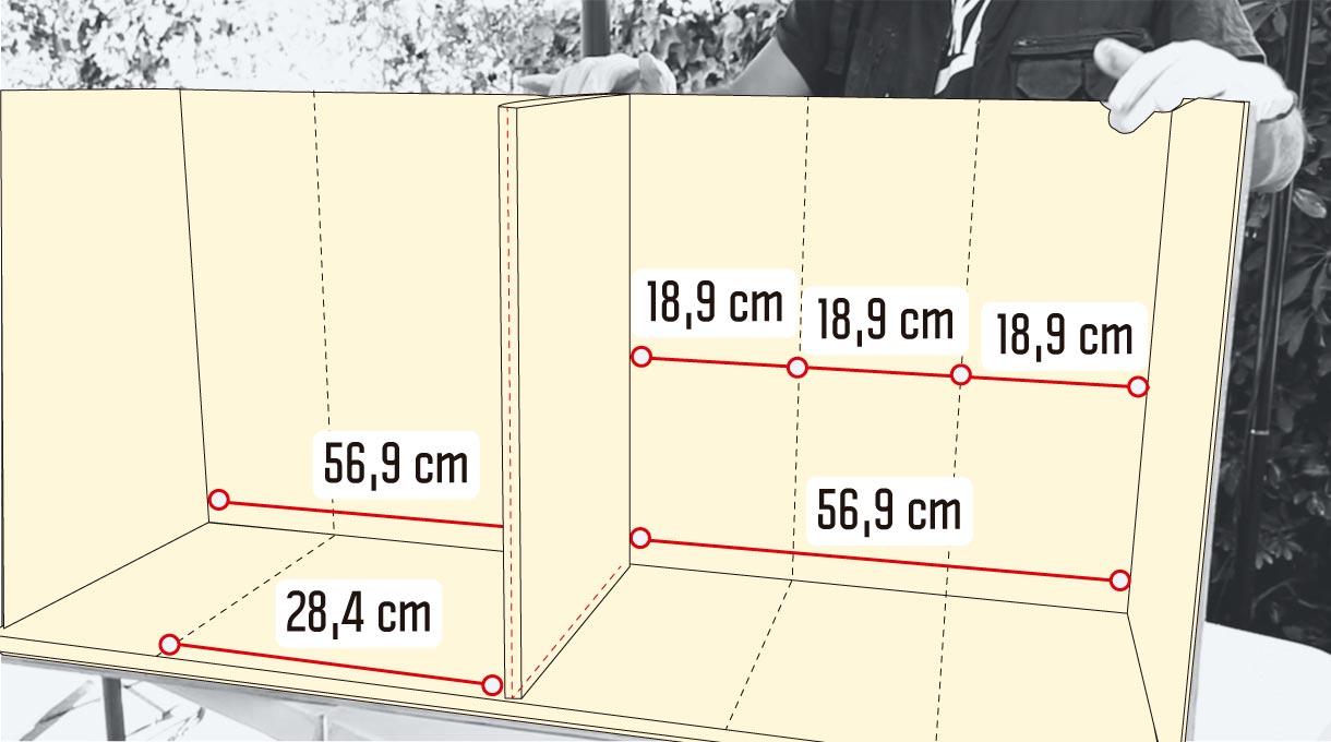 medidas de las divisiones verticales del mueble para zapatos