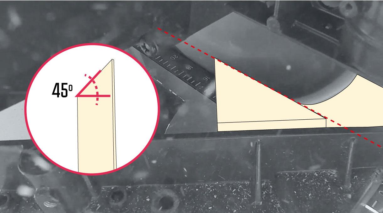 Armar las alforjas con un corte diagonal de la ingleteadora