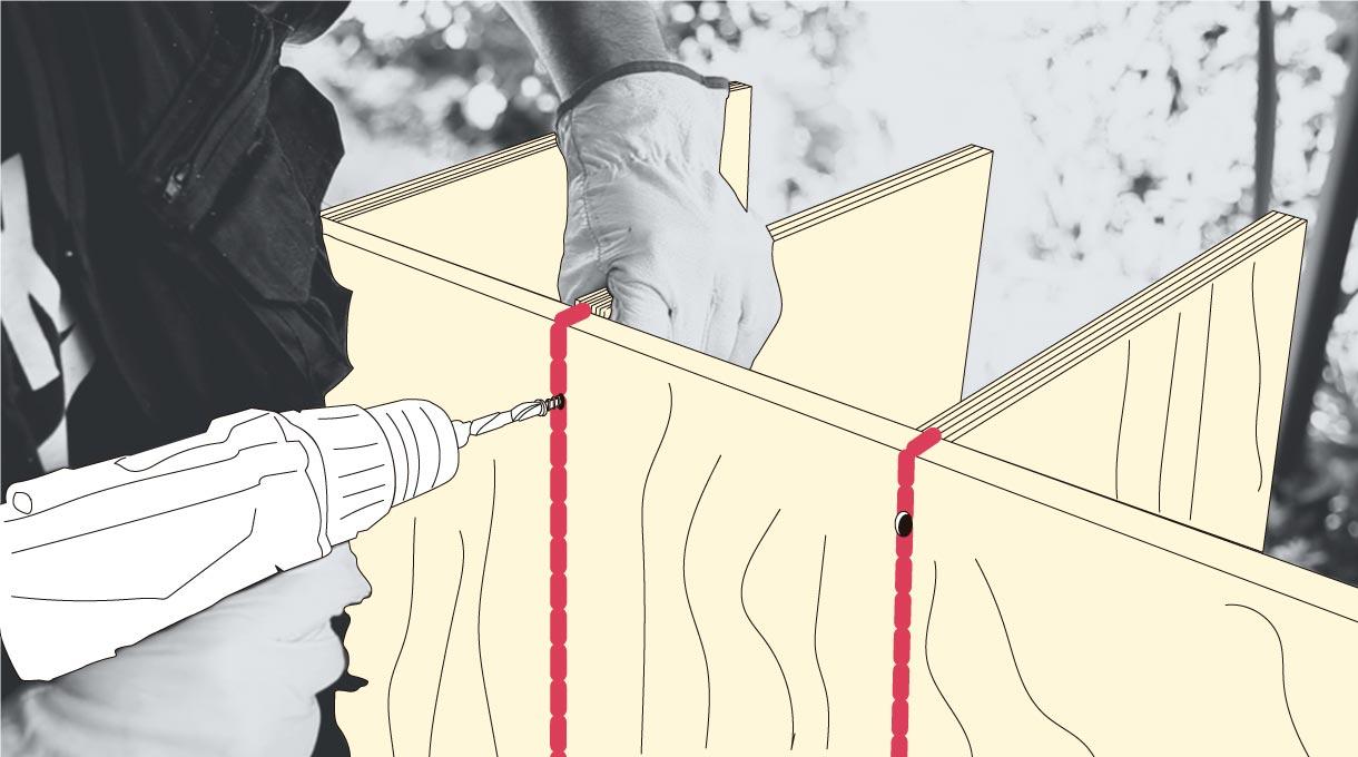 medir y marcar las maderas verticales