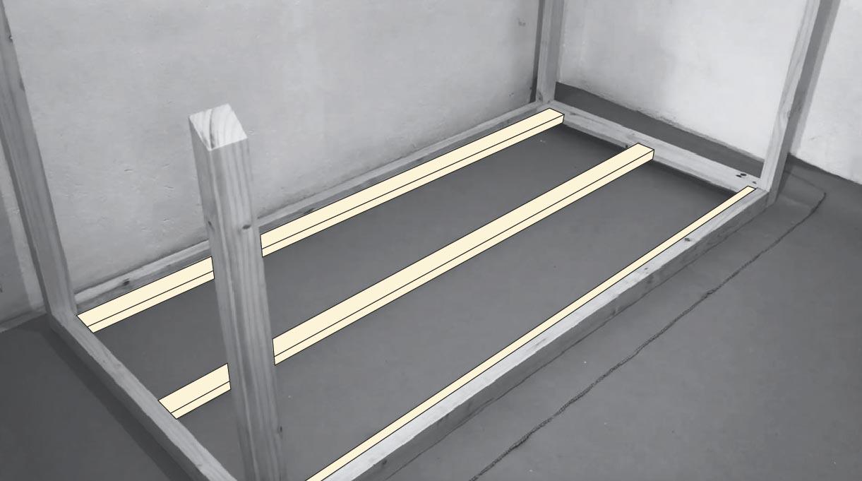 colocar tablas en la base que son el soporte del colchón