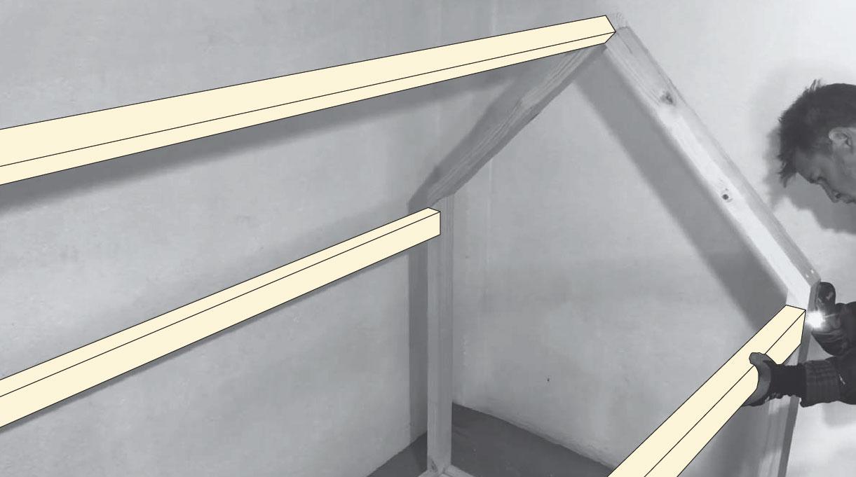 colocación de vigas finales del techo de la cama Montessori