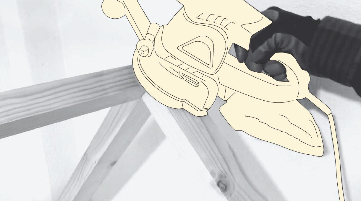 lijadora orbital puliendo toda la estructura