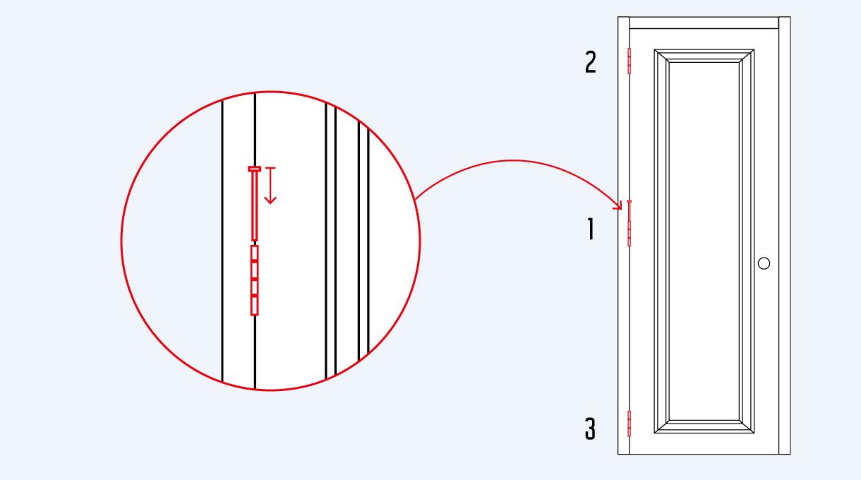 poner primero la bisagra del medio para montar las puertas