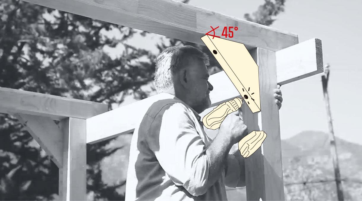 instalación de las escuadras de madera