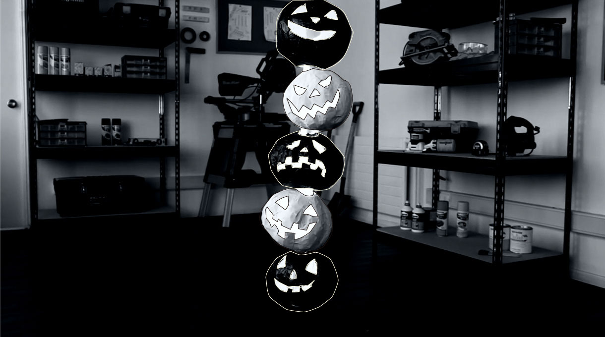 Lámpara de calabazas de Halloween como decoración casera