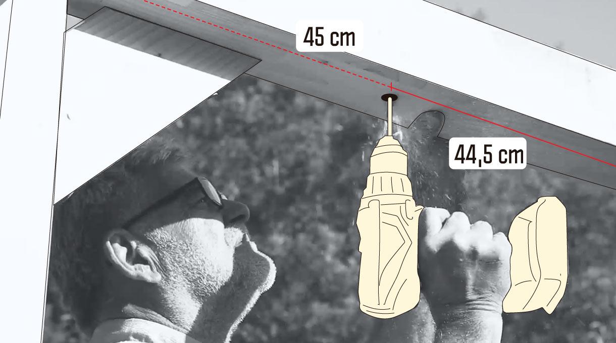 perforación en viga superior para colgar los columpios