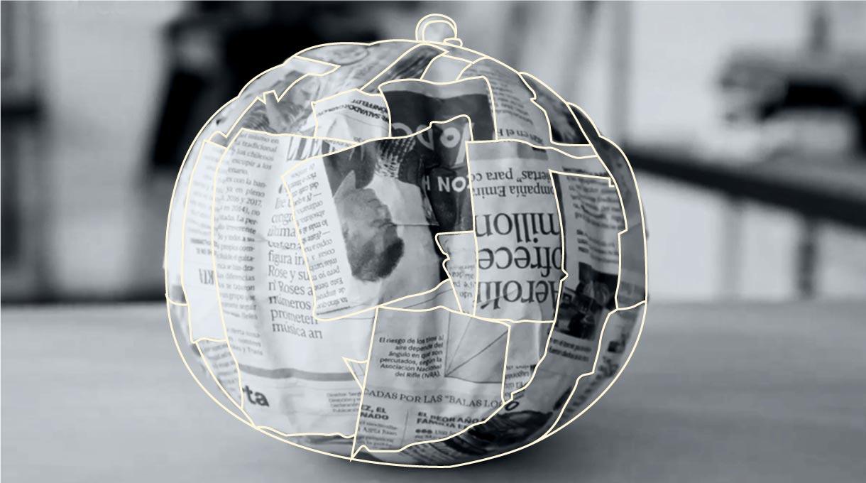globo forrado en papel