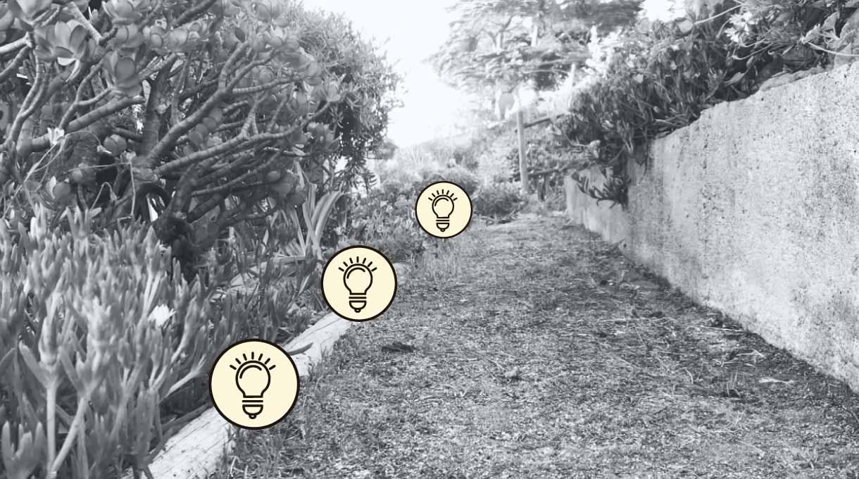 sendero de un jardín iluminado por estacas solares
