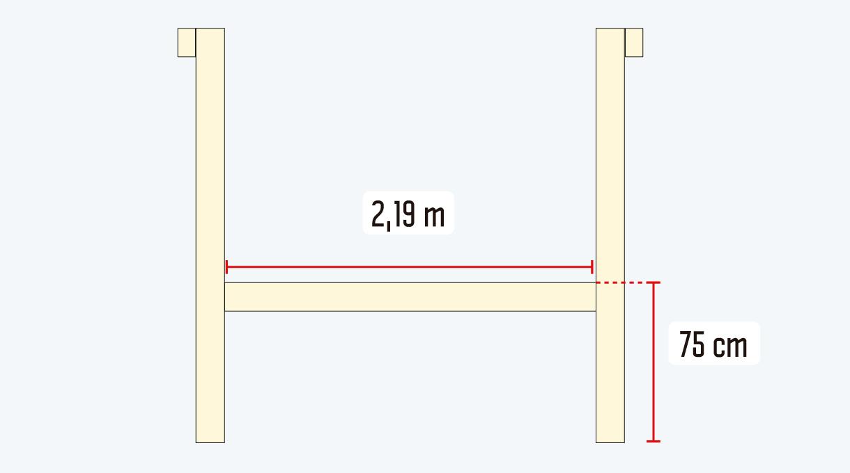 imagen de la viga central de unión  y soporte de la mesa columpio