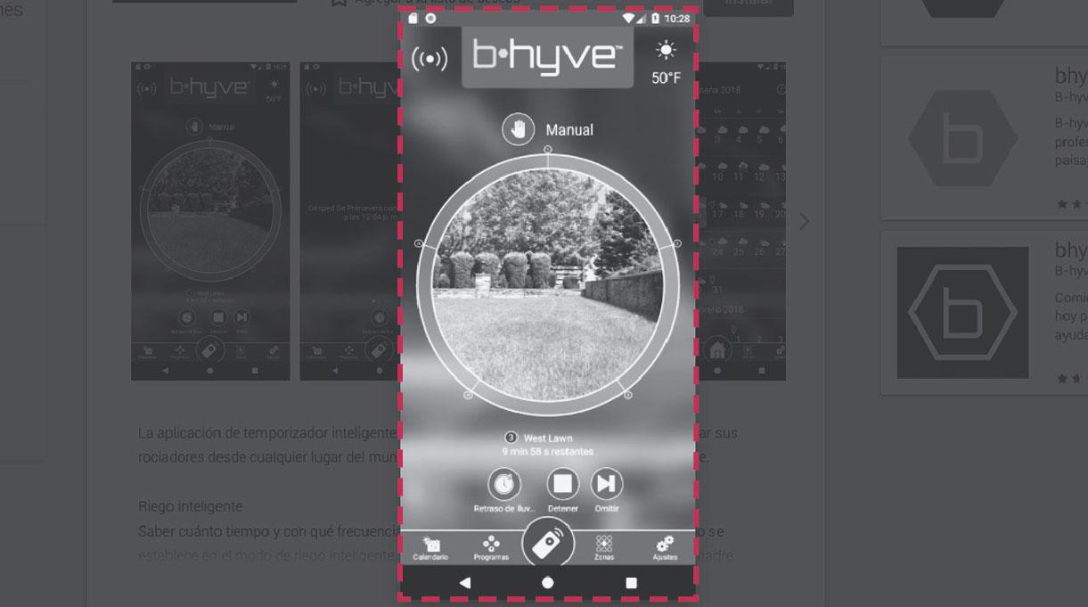 Imagen de la aplicación de celular para controlar el programador de riego automático